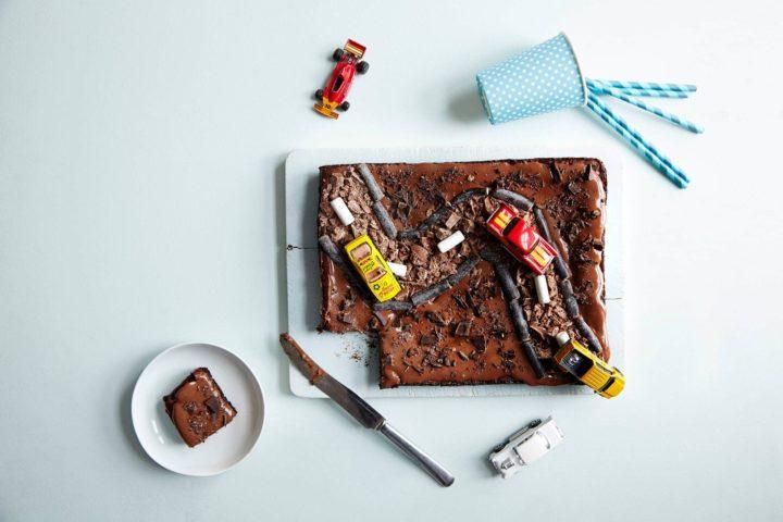 Brownies formet som bilbane