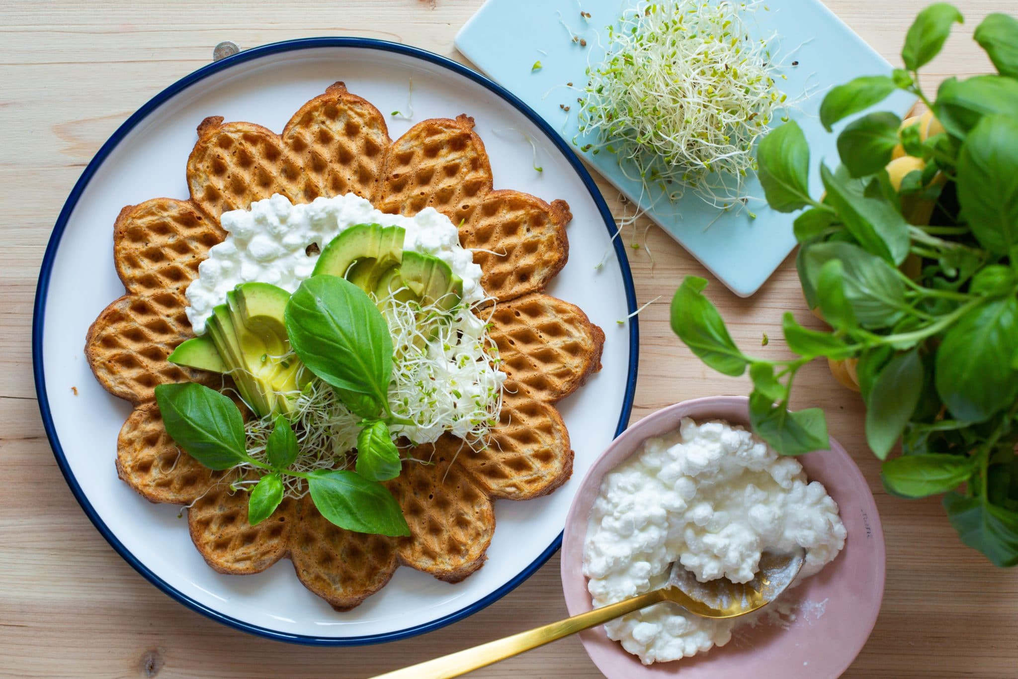 Grove lunsjvafler med avocado og cottage cheese