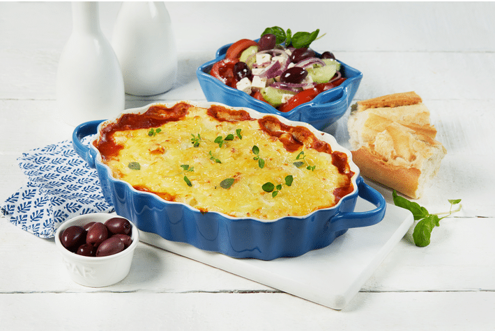 Vegetarisk moussaka med aubergine, squash og kikerter